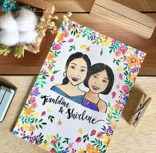 Portrait Watercolor | Floral border
