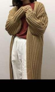 🚚 厚針織外套 復古暖黃 薑黃 毛衣外套 古著