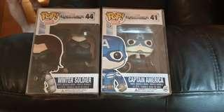 Funko pop Masked the winter soldier and captain america with pop protectors