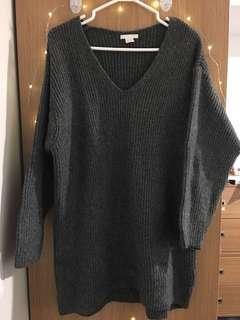 Sweater Dress v cut dark grey (H&M)