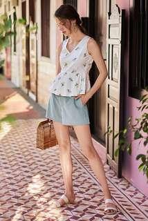 TCL COLIN BUTTONED SHORTS IN DUSTY BLUE