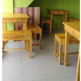 3 sets of chairs and tables