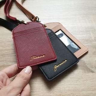 Id card lanyard custom embossed saffiano