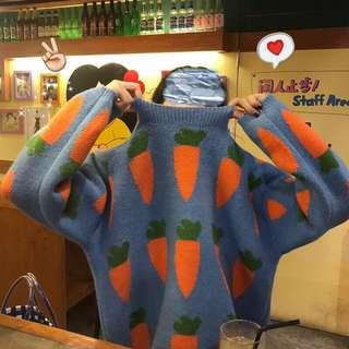 blue/apricot/orange knit sweater