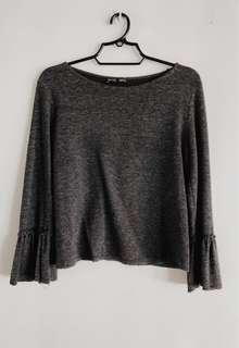 GRAY ZARA BLOUSE WITH FRAYED SLEEVES