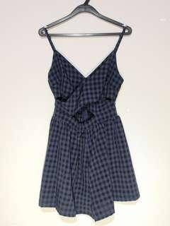 🚚 Beginning Boutique Blue Plaid Crossover Playsuit