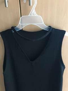 choker neck mini black dress