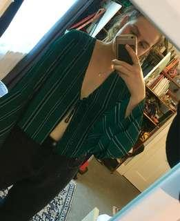 Green Pinstriped Blouse