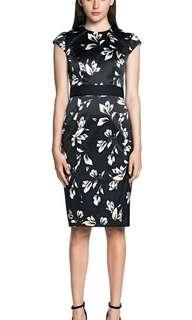 Cue Sateen Pencil Dress in Black Floral - Size 6 RRP $280