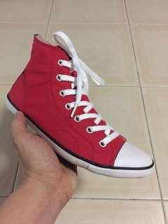 Red high cut sneakers