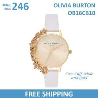 Olivia Burton Ladies Watch Case Cuff Nude and Gold OB16CB10