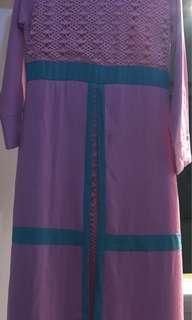Gamis maxi dress + kerudung masih baru