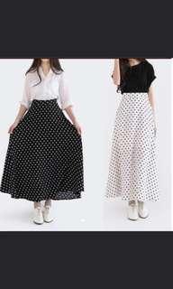 [PL] White Maxi Polka Dots Skirt