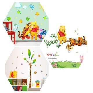 ( 3 Designs RM100. RM35 EACH ) Winnie Pooh bear wall stickers children baby room cartoon animal baby early childhood education stickers bear decoration wall stickers