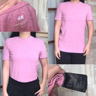 REPRICE H&M basic Pink tshirt kaos polos