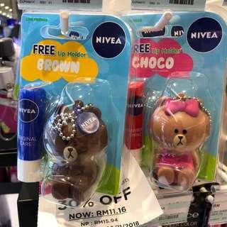 Instock Nivea x Line Friends Brown And Choco lip balm with 3D casing