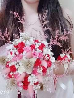 🚚 超美乾燥花、仿真花捧花+手腕花一組(加伴娘抽捧花緞帶>150公分$15元/條