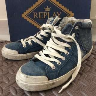 Replay denim hi cut sneakers with box