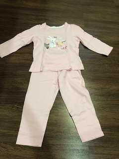 Pre-loved girls bunny pink pajamas for 3-4 years old
