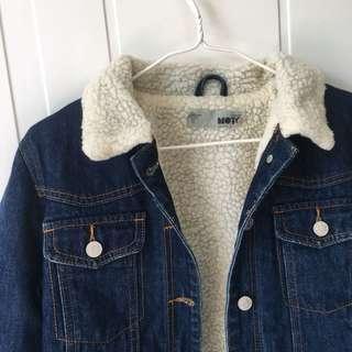 Topshop Sherpa fur lined denim jacket 牛仔外套