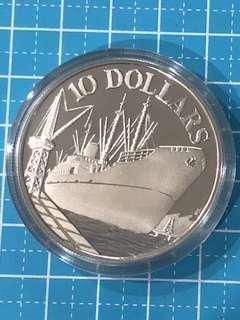 """Singapore Silver """"Proof"""" Coin $10 1976"""