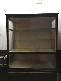 早期實木玻璃櫃