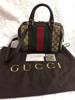 💯Authentic GUCCI Vintage Wed Boston Bag
