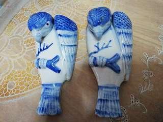 1960's pair of porcelain parrot