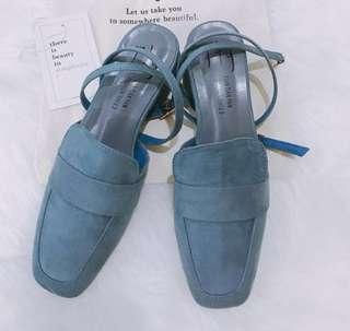 Blue Suede Korean Inspired Heel