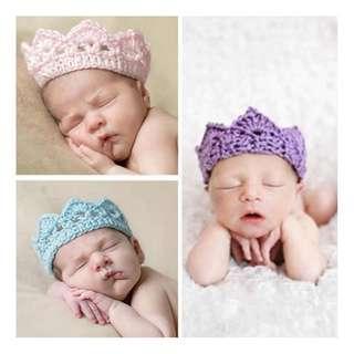 100% Handmade Crochet Baby Crown Headband (0-3M)