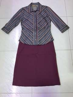 2 pc Purple stripes top w matching skirt(S) incl normal mail