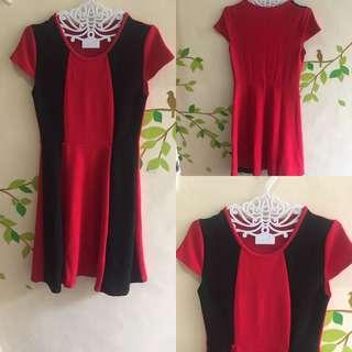 Red and Black Casual/ Office Dress