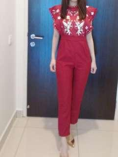 Jumpsuit Red Embroidery Long Romper set bottom and top with zip Premium sleeves sleeveless off shoulder cold romper