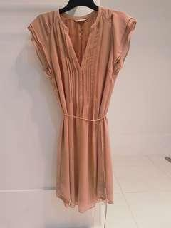 H&M beige/light pink dress with tie