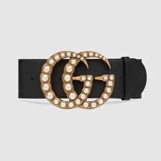 67b8ae4e587 Gucci Wide Leather Belt With Pearl Double G