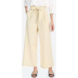 Uniqlo Striped  Belted Cotton Linen Wide Leg Pants