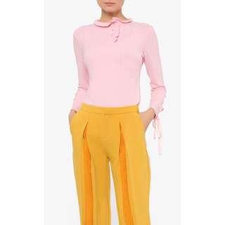 Schmiley Mo  Aiko Button Up Turtleneck Top in Pink