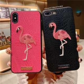 Leather Flamingo XR / XS Max / XS / X / 8+ / 7 / 6S casing