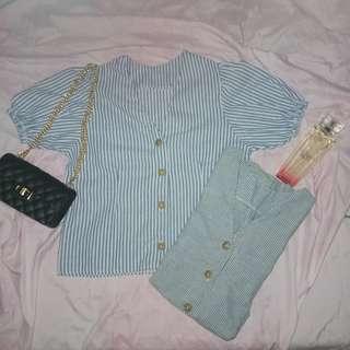 Button Down Linen Fabric Blouse Top