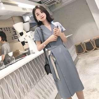 Corporate Minimalist Wrap V Dress