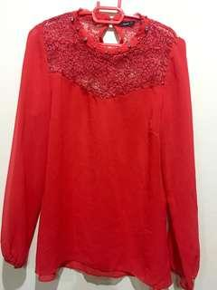 Top with lace neck