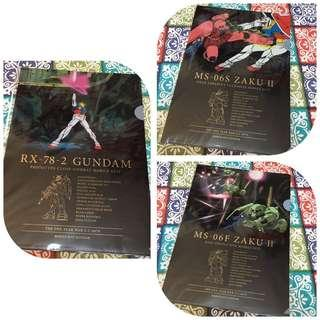 一套3款 高達 A4 file folder 文件夾 RX-78-2 Gundam 元祖高達 阿寶 MS-06 ZAKU II 渣古 綠渣 紅渣 馬沙 一年戰爭 One Year War 聯邦 自護 EFSF ZEON 限量 珍藏