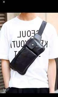 🚚  ✔️INSTOCK! Minimalist Mens Crossbody Black Pouch - Mens iPad mini Bag - Cyclist Chest Bag - Travel Porter Bag - Mens black sling bag - Mens waist pouch