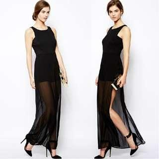 INSTOCK Black Maxi Mesh Dress