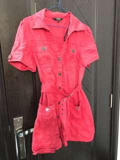 Star For Dorothy Perkins Red Belted Linen Dress