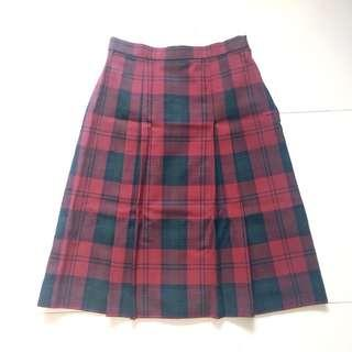 Instock! - BNIP Vintage 100% Pure Wool Plaid Retro Midi Pleated Skirt in Red x Navy
