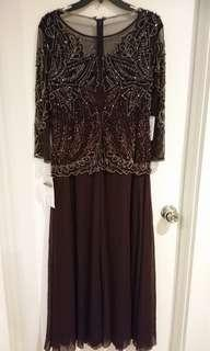 Pisarro Nights Embellished Mesh Gown size - 12P Petite - WINE color