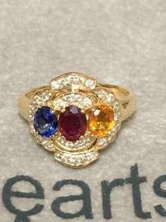 18k黃k金天然彩寶鑽石戒指