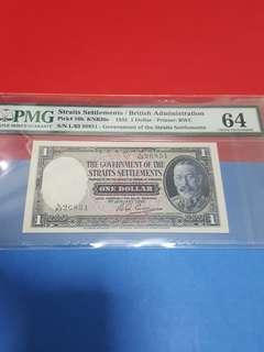 $1-1935 straits settlements original Pmg64..#no epq due to minor foxing#