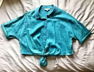 🚚 Turquoise Denim Look Crop Top